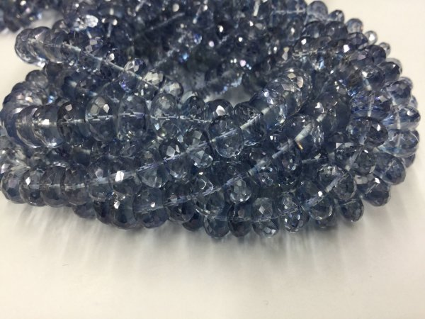 Blue Mystic Quartz Rondelles Faceted