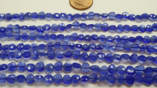 Chalcedony Straight Drilled Hearts Faceted