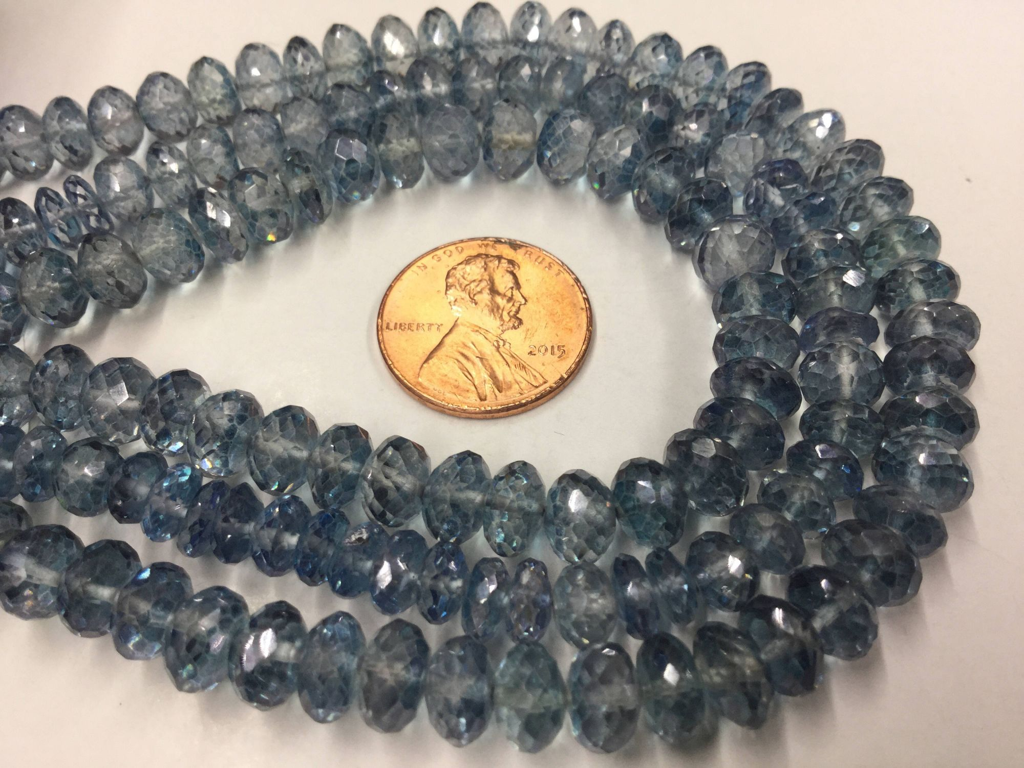 Blue Topaz Rondelles Faceted