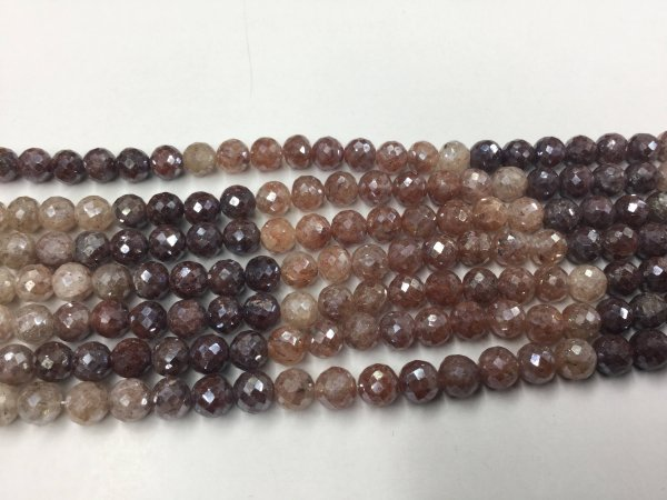 Brown-Cream Strawberry Quartz Rounds Faceted