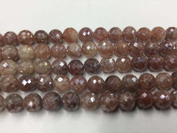 Brown-Cream Strawberry Quartz Rounds Faceted Coated