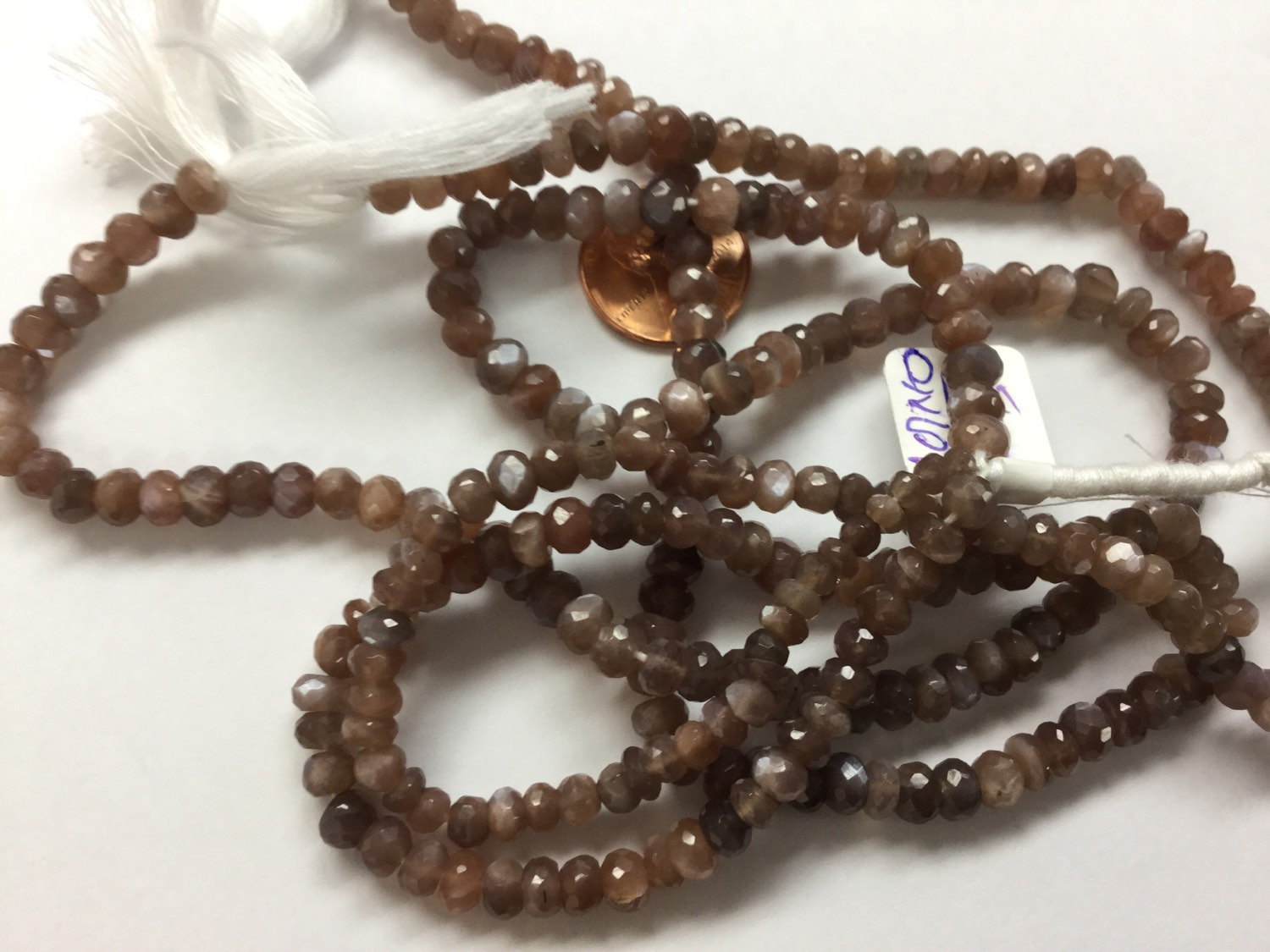 Brown Moonstone Rondelles Faceted