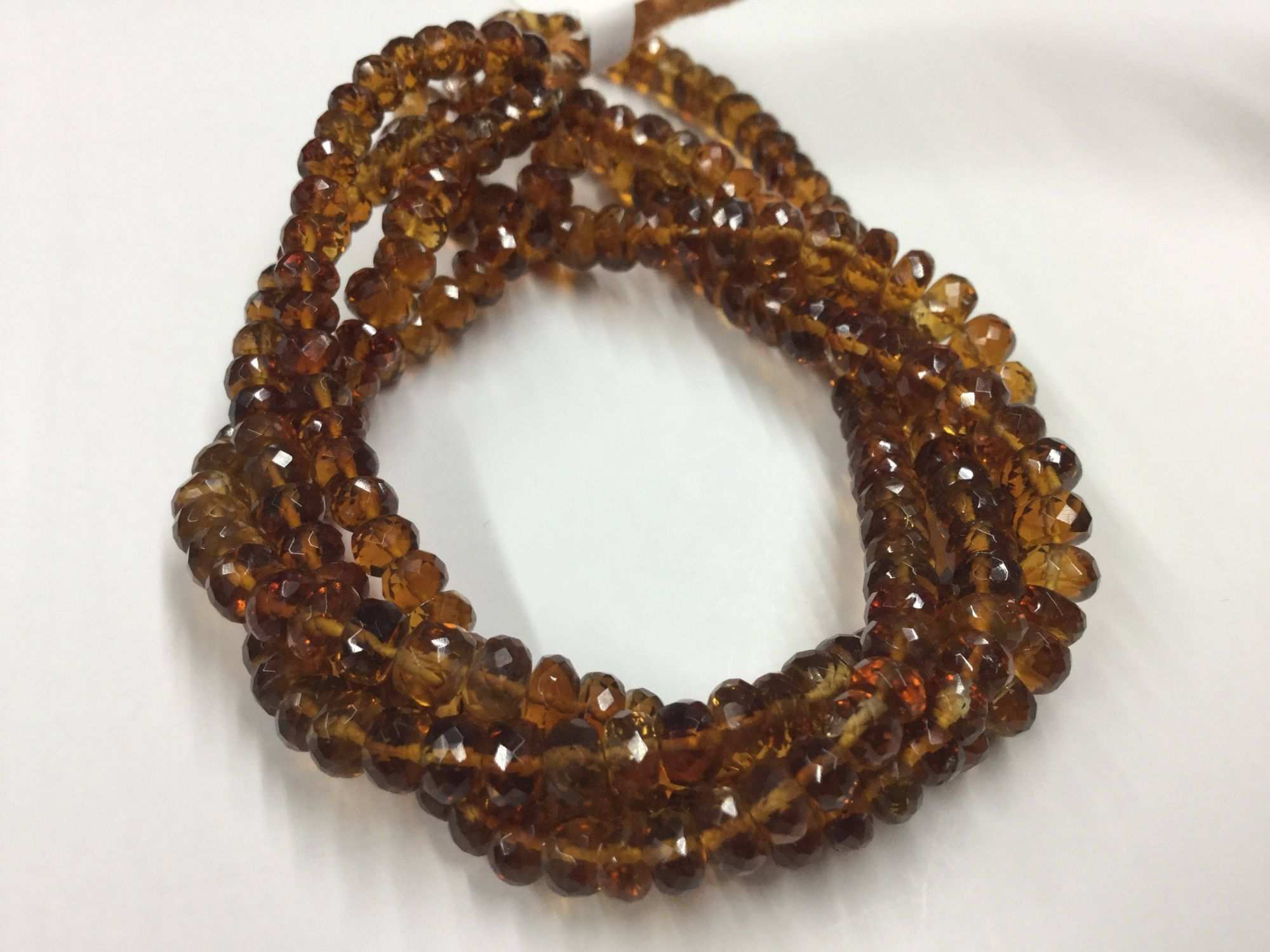 Burnt Citrine Rondelles Faceted