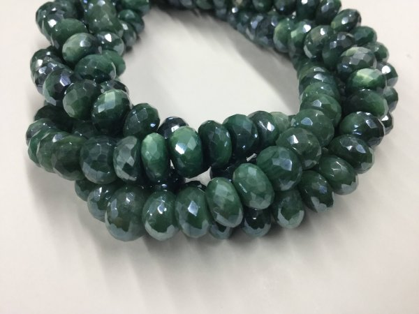 Caribbean Green Moonstone Rondelles Faceted