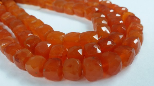 Carnelian Cube Faceted