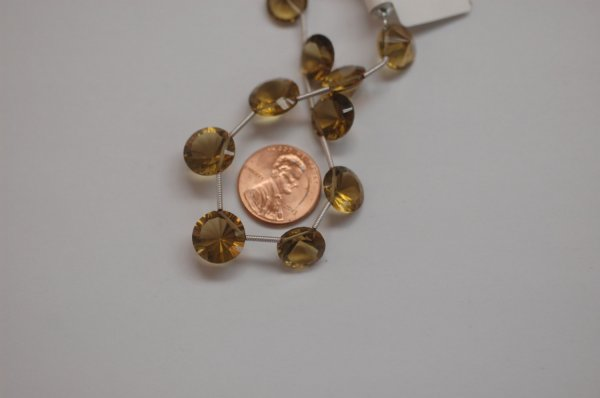 Champagne Quartz Round Concave cut Faceted