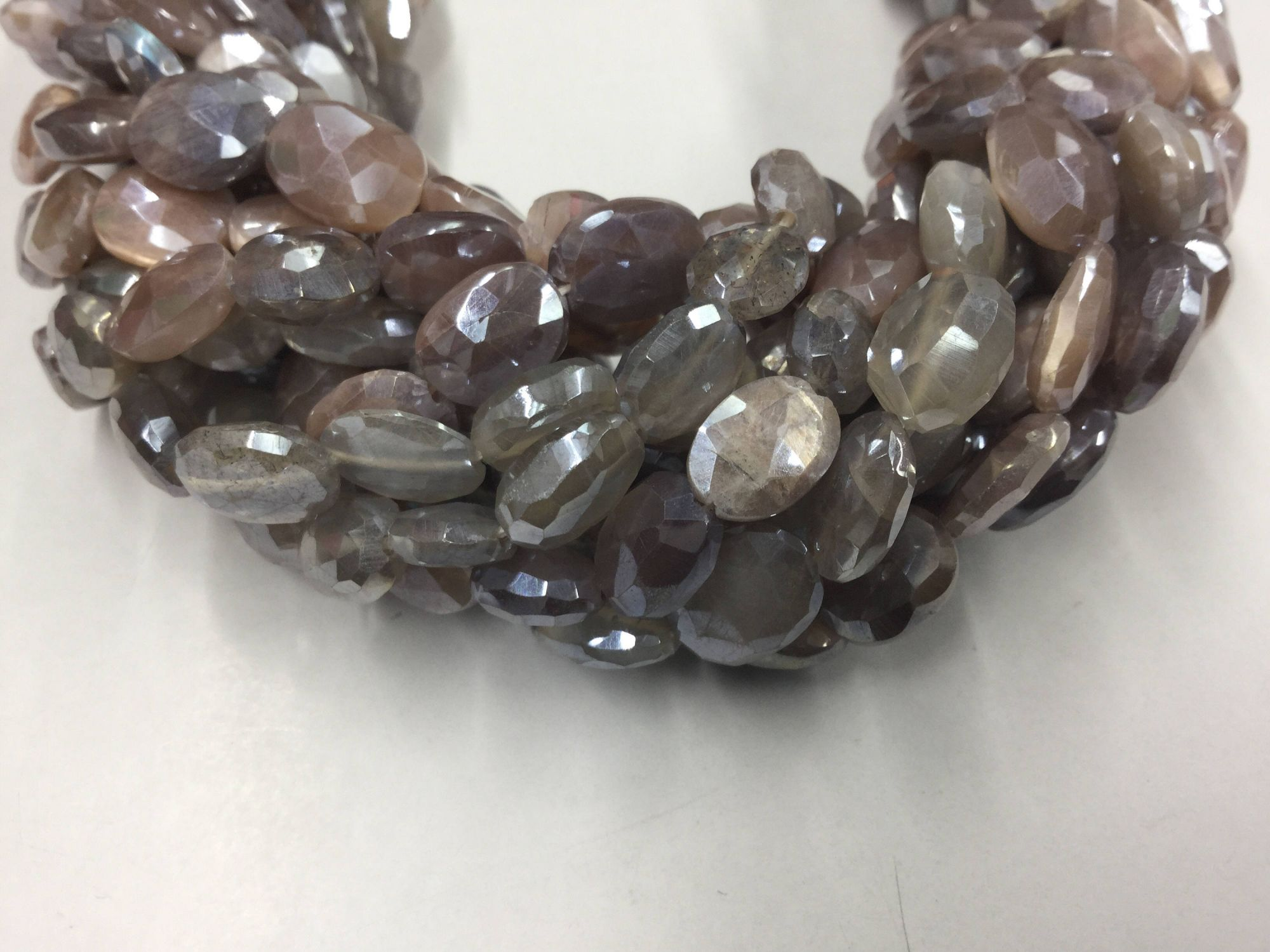 Chocolate-Cream Moonstone Ovals Faceted