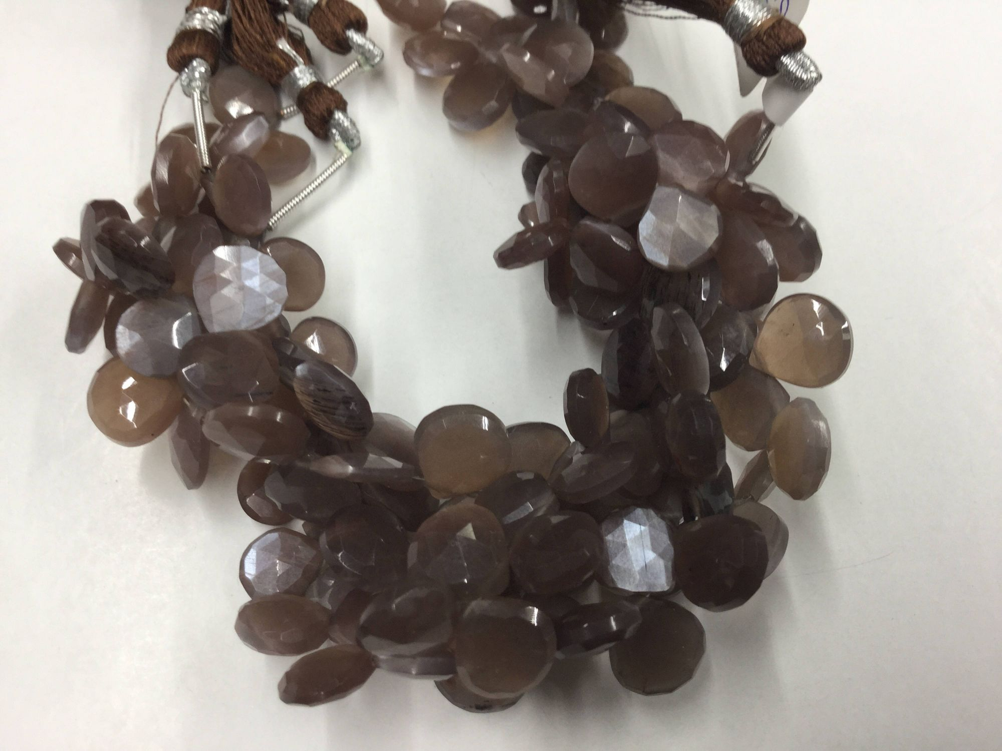 Chocolate Moonstone Hearts Faceted