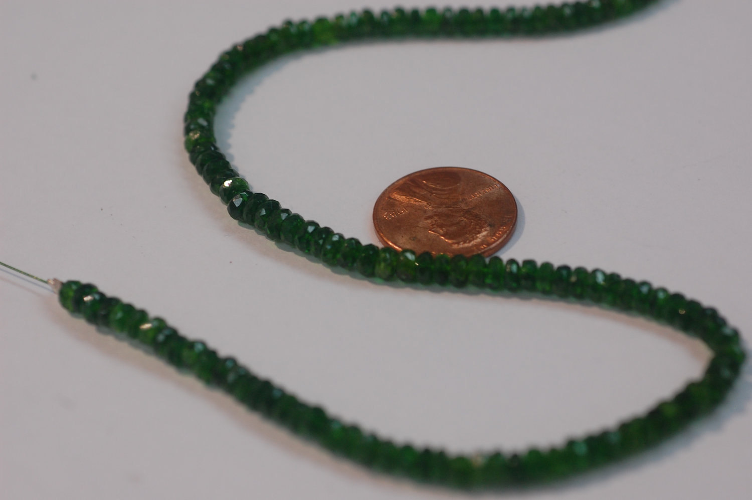 Chrome Diopside Rondelle Faceted