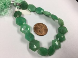Chrysoprase Center Drilled Hexagon Faceted