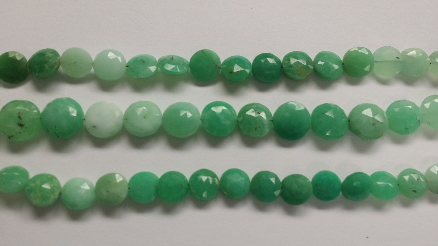 Chrysoprase Coins Faceted