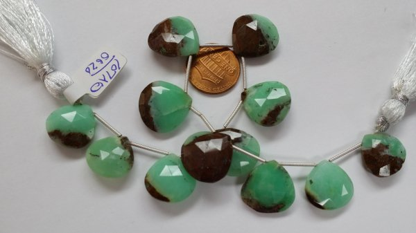 Chrysoprase Hearts Faceted
