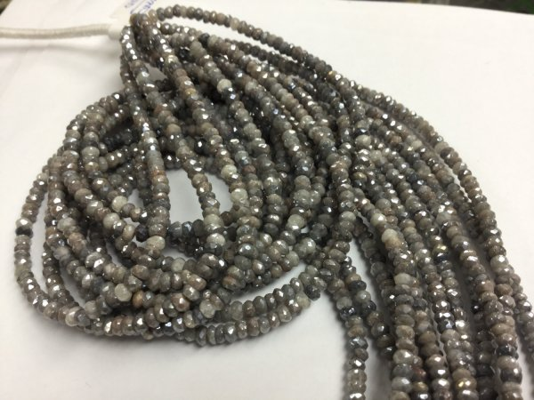 Coated Silver Moonstone Rondelles Faceted