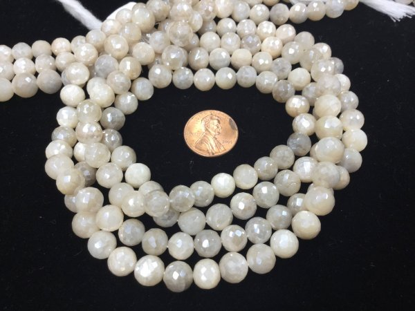 Cream Moonstone Rounds Faceted