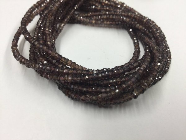 Dark Brown Sapphire Rondelles Faceted