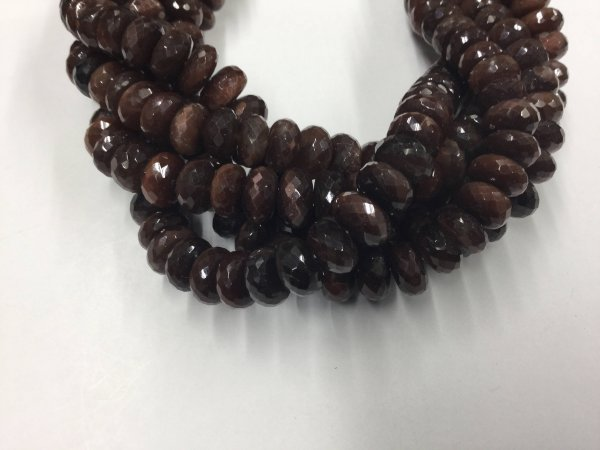 Dark Chocolate Moonstone Rondelles Faceted