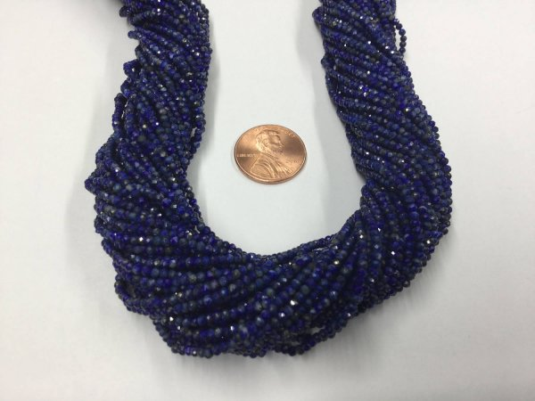 Dark Lapis Rondelles Faceted