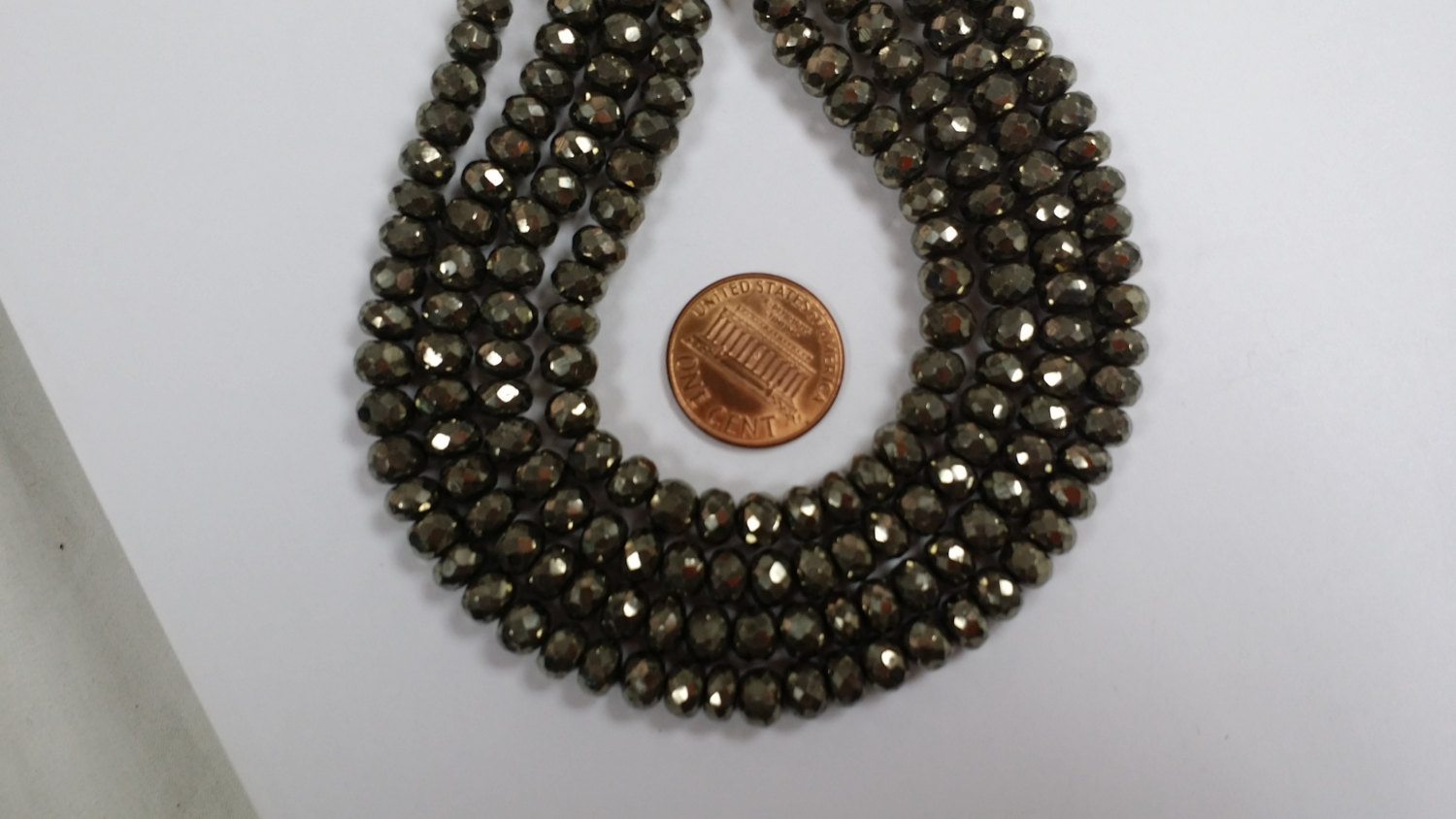 Dark Silver Pyrite Rondelles Faceted