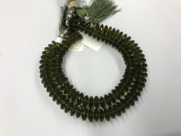 Olive Green Hydro Quartz Disc Faceted