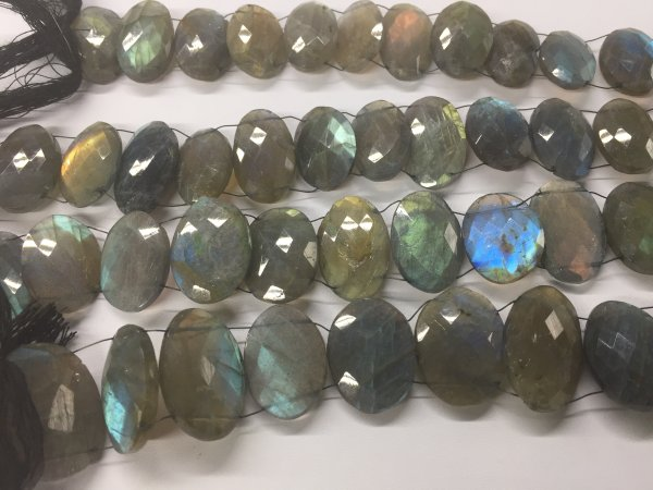 Labradorite Ovals Faceted (Two side Drilled)