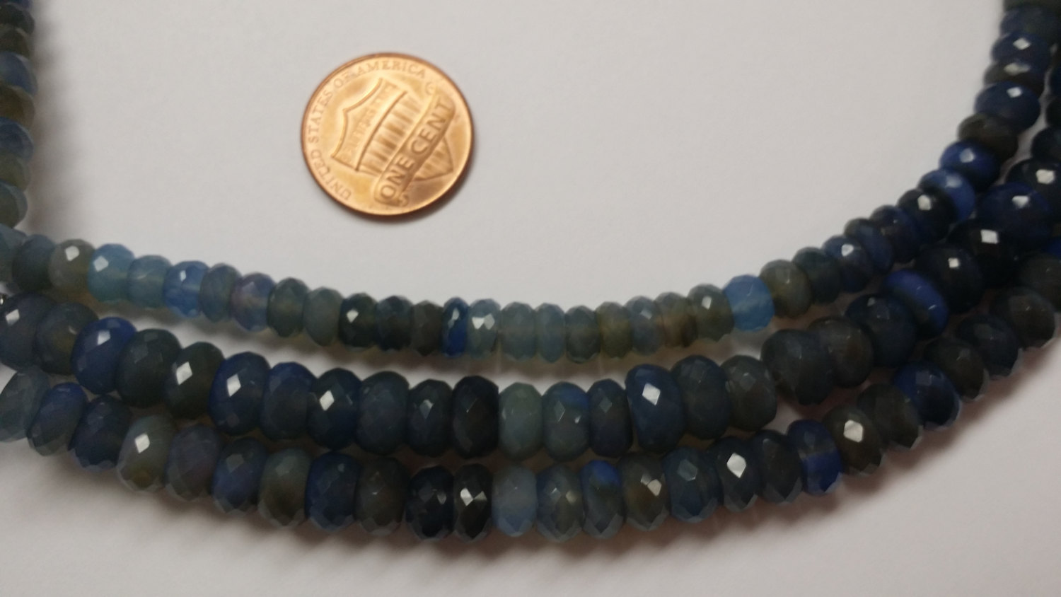 Blue Chalcedony Rondelles Faceted