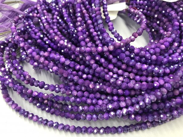 Purple Moonstone Rondelles Faceted ( Coated)