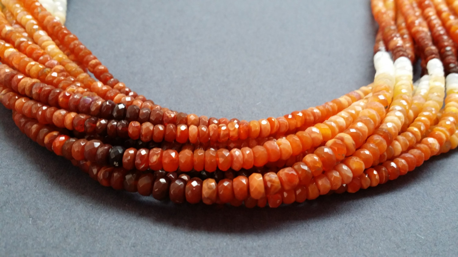 Fire Opal Rondelle Faceted