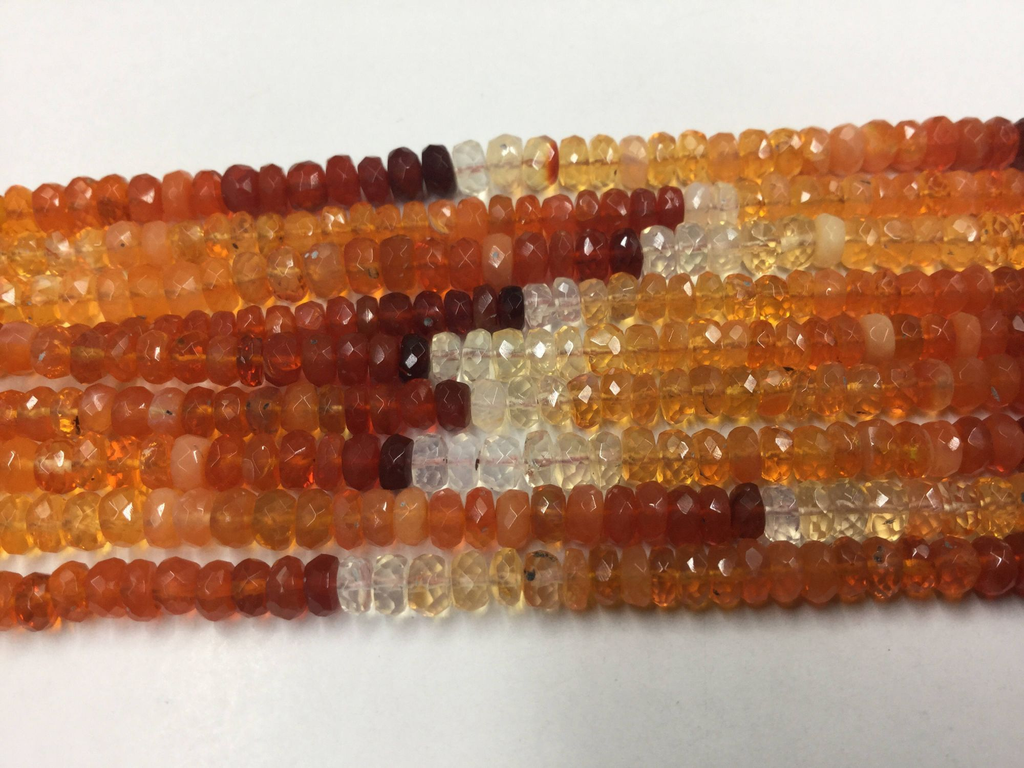 Fire Opal Rondelles Faceted