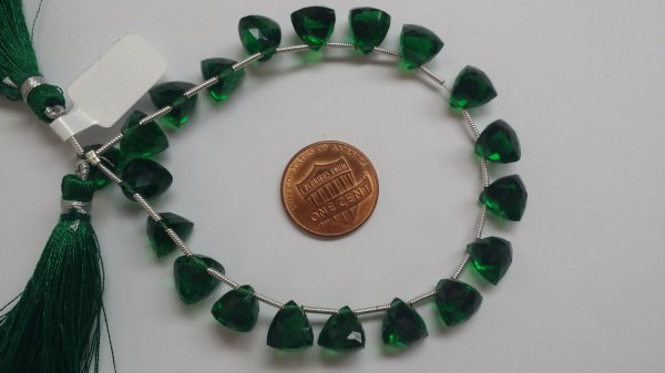 Forest Green Hydro Quartz Trillions Faceted