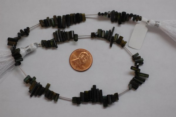 Forest Green Tourmaline Long Thin Tubes Faceted