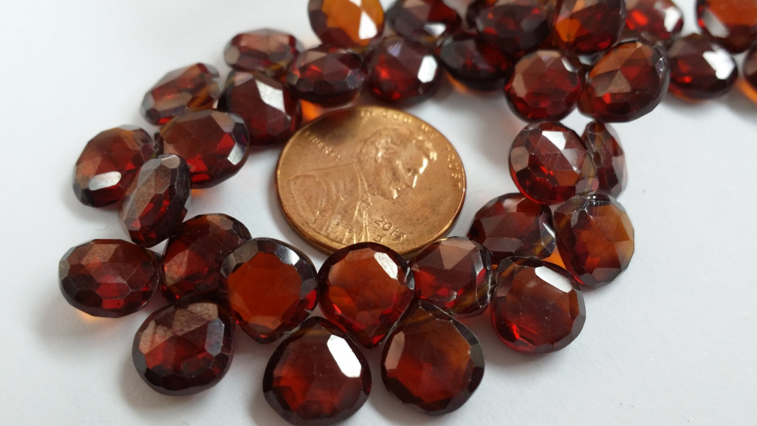 Garnet Hearts Faceted