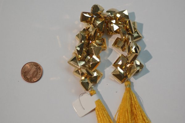 Gold Pyrite Funky Cut Faceted (COATED)