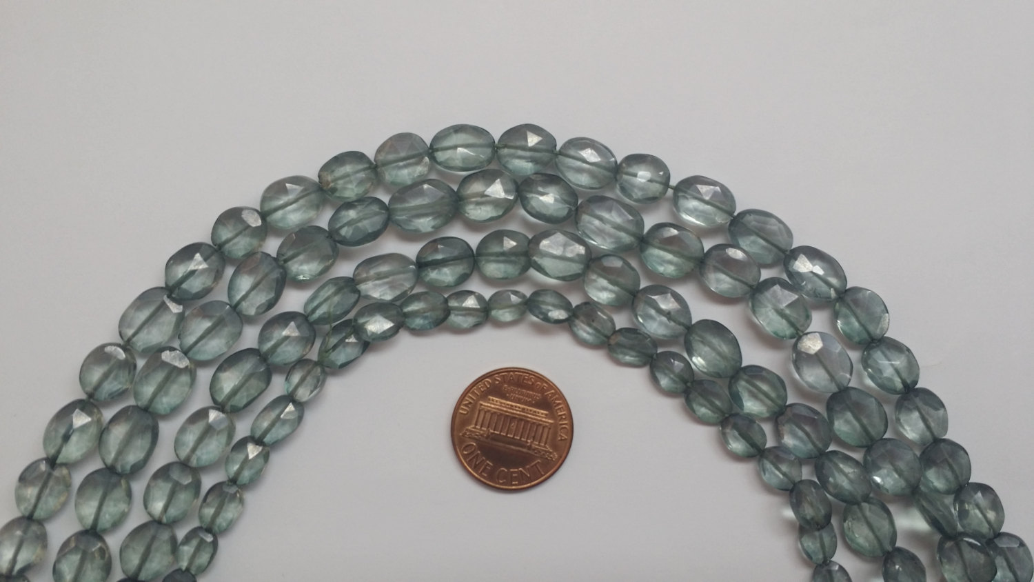 Gray Green Mystic Quartz Faceted Oval