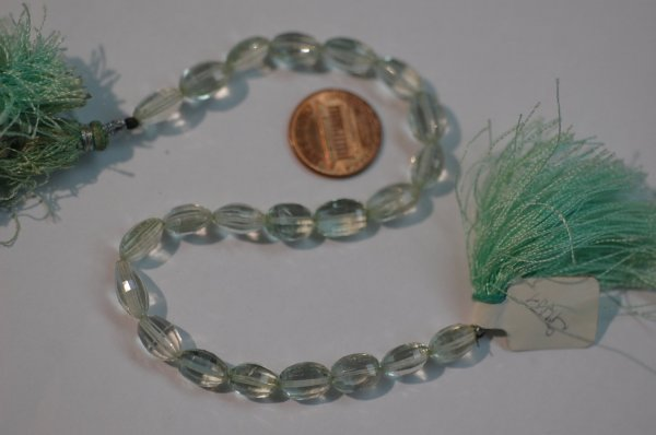 Green Amethyst Drum Shape Faceted