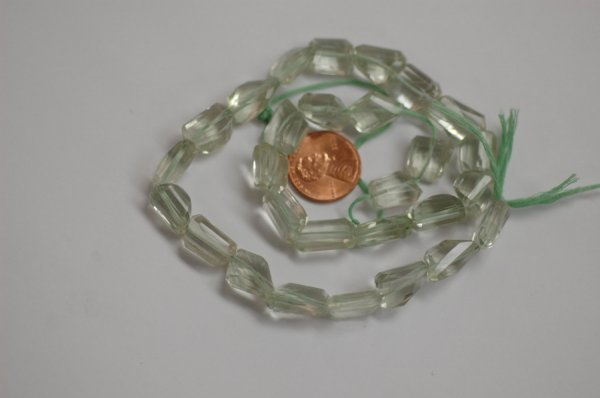 Green Amethyst Step Cut Faceted Nugget