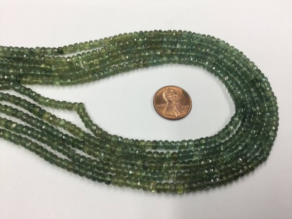 Green Apatite Rondelles Faceted