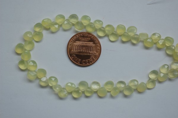 Green Chalcedony Hearts Faceted