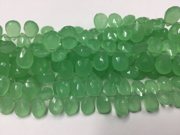 Green Chalcedony Pears Faceted