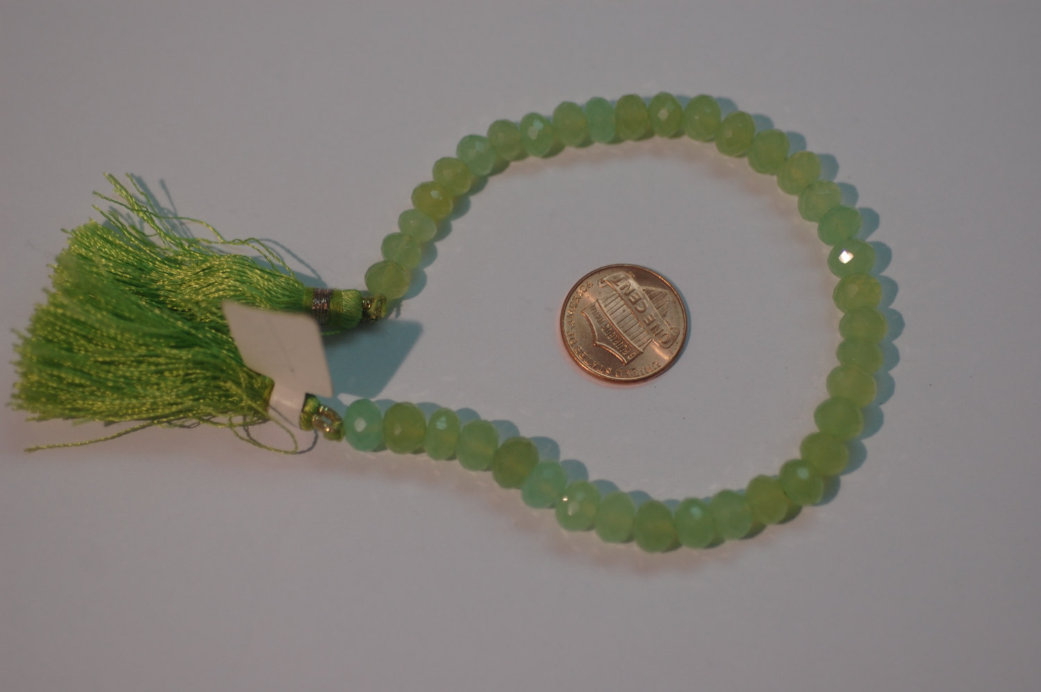 Green Chalcedony Rondelle Faceted
