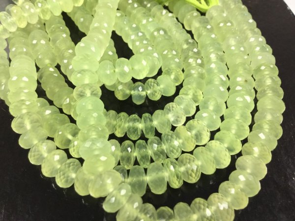 Green Chalcedony Rondelles Faceted