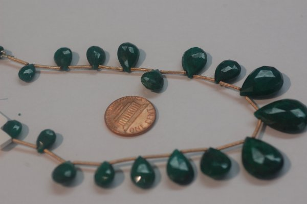 Green Emerald Pear Faceted