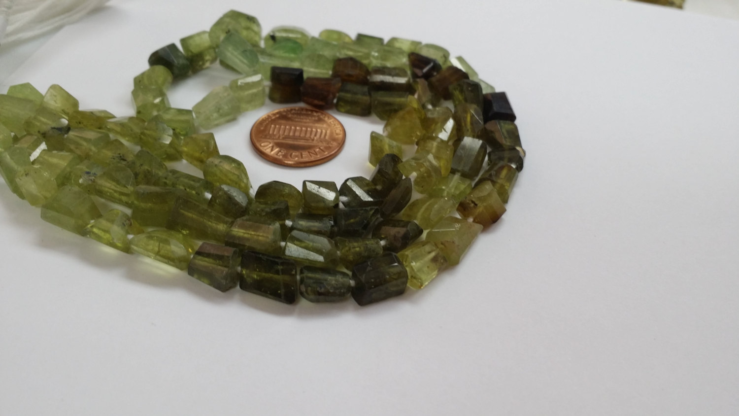 Green Garnet Nuggets Faceted