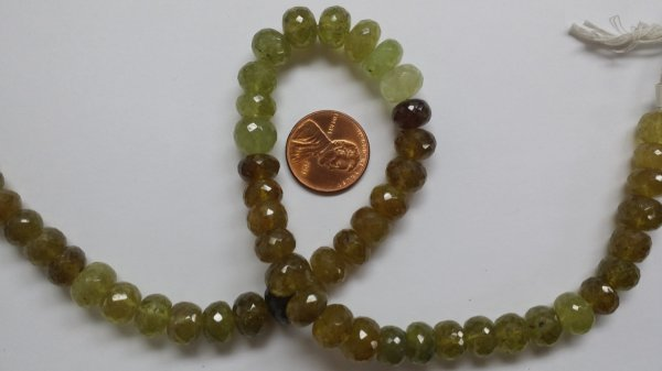 Green Garnet Rondelle Faceted