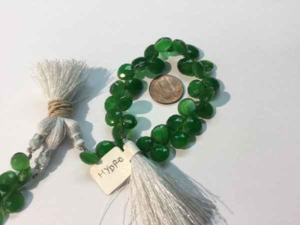 Green Hydro Quartz Hearts Faceted