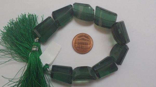 Green Hydro Quartz Nuggets Faceted