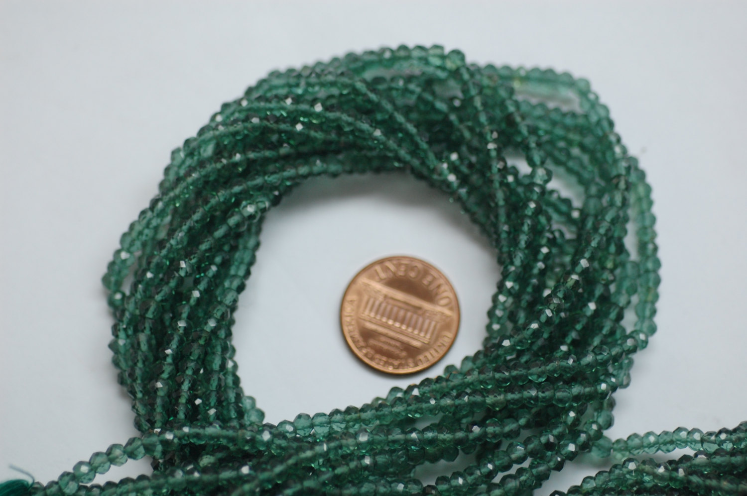 Green Hydro Quartz Rondelle Faceted