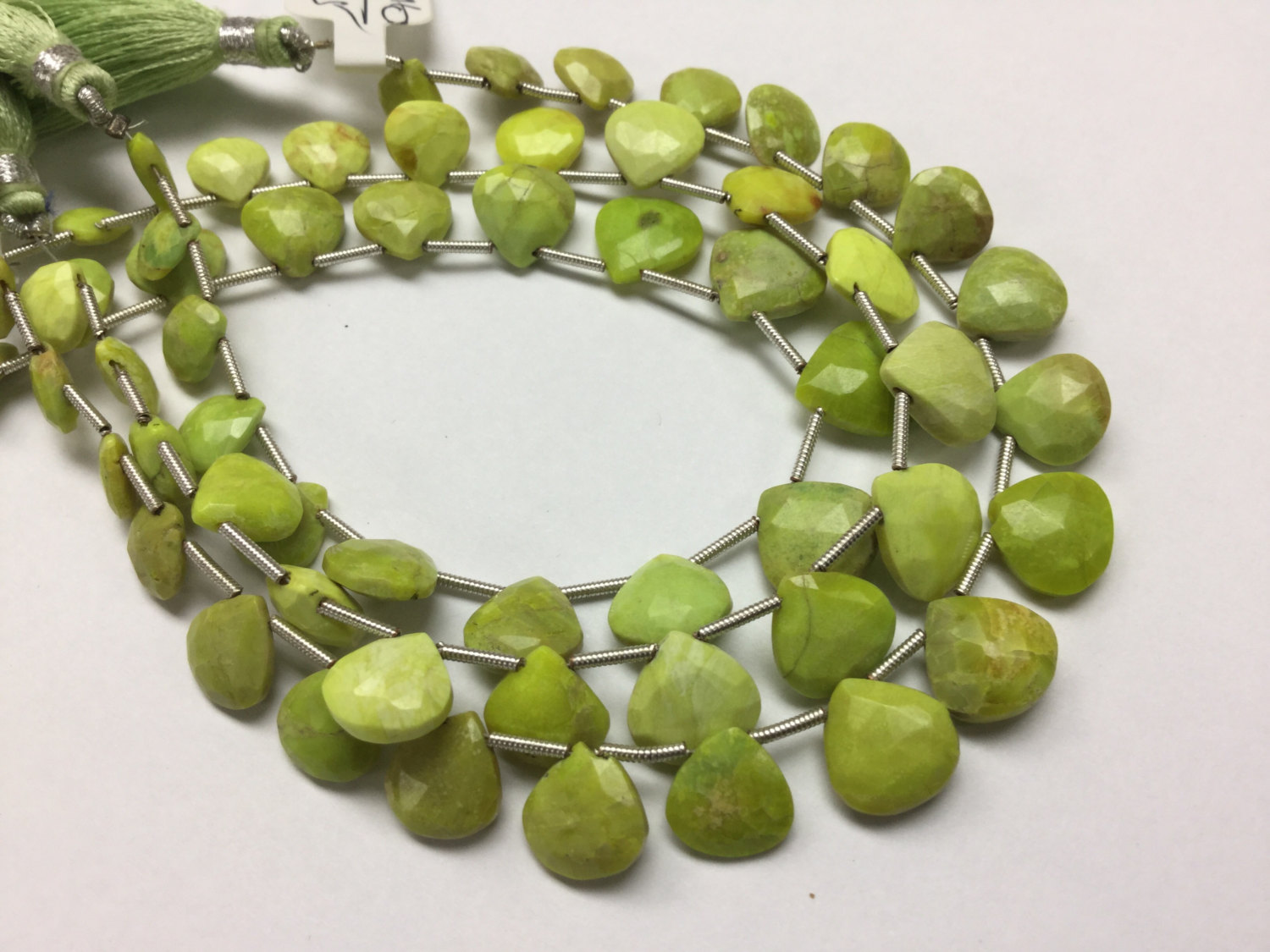 Green Turquoise Hearts Faceted