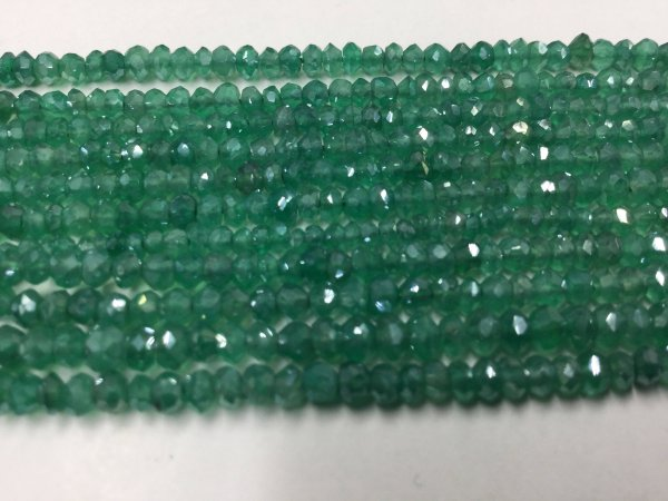 Green Mystic Onyx Rondelles Faceted