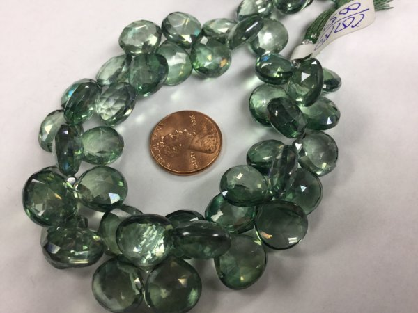 Green Mystic Quartz Hearts Faceted