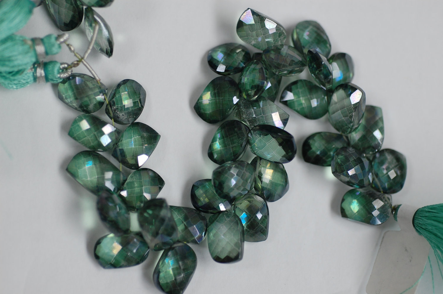 Green Mystic Quartz Leaf Shape Faceted
